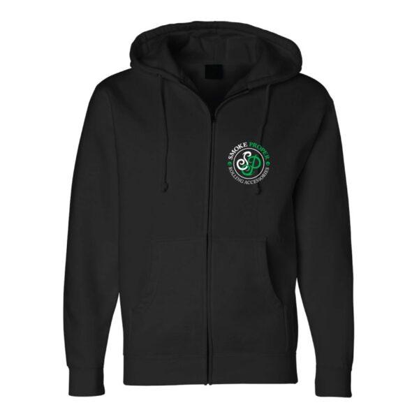 Black w/ Front Zip - Smoke Proper Hoodie Sprinkle Design (Front)
