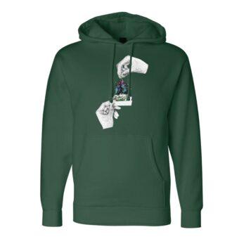 Forest Green - Smoke Proper Hoodie Sprinkle Design (Front)